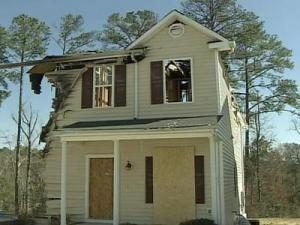 This home in the Heddingham community in Raleigh was damaged by a fire six months ago.