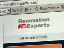 A screenshot of the Renovation Experts Web site.