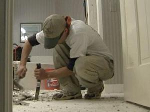 Never pay a contractor too much up front. Experts say 10 percent down, then pay more as work is complete.