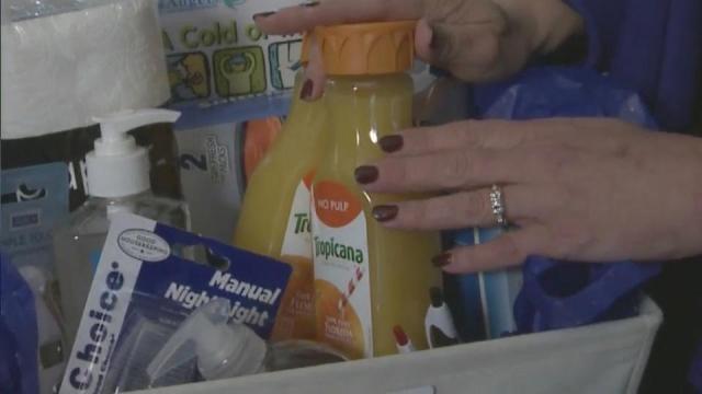 OJ and hand sanitizer