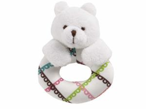 This bear ring rattle from Vera Bradley has a white teddy bear head, arms attached to an O-shaped body with a green, blue, brown and pink crisscross pattern design rattle.