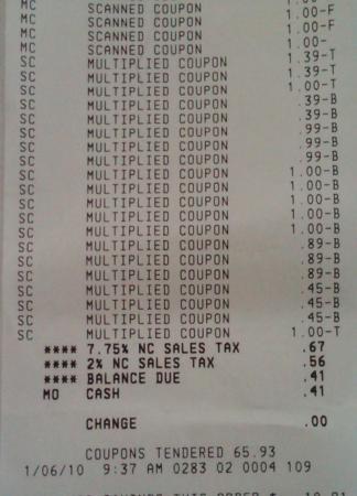 Super doubles receipt $66 for 41 cents!