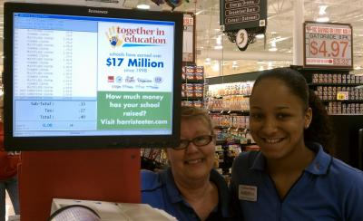 Here is the total of my Harris Teeter triples shop today: $55 worth for 40 cents! Included in this photo are 2 awesome Harris Teeter employees, Ursula and Amber! They were so friendly and helpful! Their excellent level of customer service is just one of the many reasons why I love shopping at Harris Teeter.
