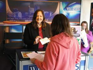Smart Shopper Faye Prosser visits with fans at the NC State Fair.