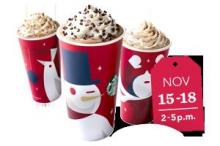 Starbucks is offering a Buy One Get One Free promotion on their holiday drinks starting November 15th. Read on for all the details.