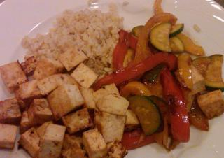 Teriyaki tofu and veggies