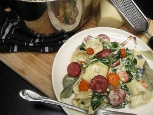Diana's Roasted Carrot, Turkey Sausage and Spinach Tortellini with a Gruyere Cream Sauce