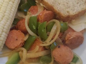 Turkey sausage with sauteed peppers and onions