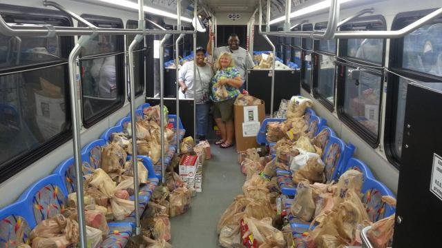 Kroger Fill the Bus Food Drive inside view