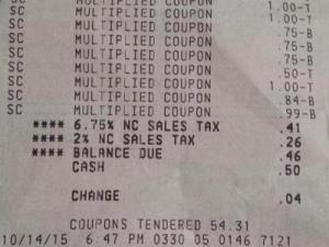 Faye's Super Doubles receipt