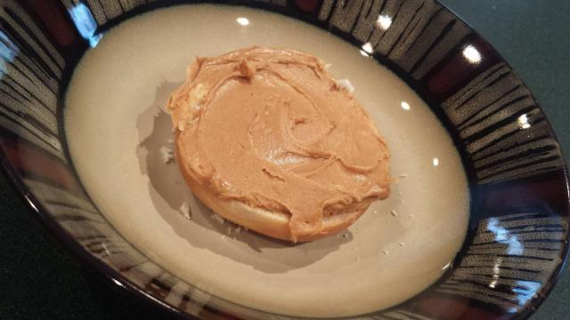 Peanut butter on a bagel
