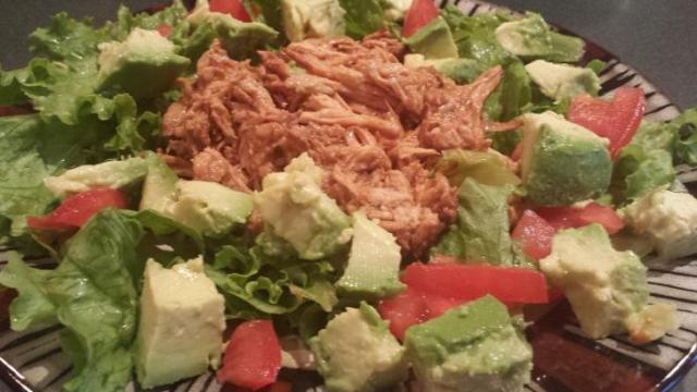 BBQ chicken on salad