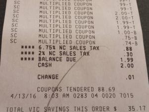 Super doubles receipt