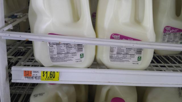 Milk at Walmart for $1.60 per gallon