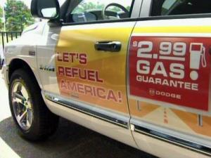 Johnson Chrysler, in Durham, is among a growing number of dealers offering free or reduced-price gas to people who buy a new car.