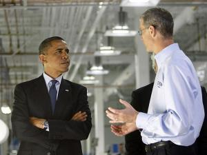 Cree CEO Chuck Swoboda, right, shows President Barack Obama and Matthew Rose, Chairman and CEO, BNSF Railway, left, an assembly line during a visit to Cree Monday, June 13, 2011 in Durham. The President toured the Cree facility, met with his Jobs Creation and Competitiveness Council and spoke about job creation. TRAVIS LONG - tlong@newsobserver.com