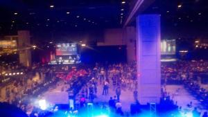 Gamers - pro players and spectators - pack the Convention Center for the Major League Gaming event.