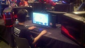A Starcraft 2 player focuses on his monitor at MLG event in Raleigh.