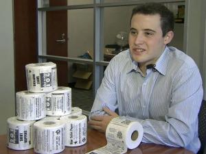 Bryan Silverman, a sophomore studying neuroscience (pictured), and his brother, Jordan, founded Star Toilet Paper about a year ago and are now rolling out rolls that contain ads, coupons and even QR codes that people can scan with their smartphones to redeem discounts.