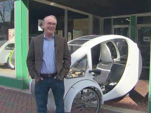 Rob Cotter started Organic Transit in downtown Durham about a year ago to bring environmentally friendly vehicles to the market, such as the Elf, a solar-pedal hybrid that uses solar energy to power a motor.