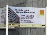 Sign for L Building in downtown Raleigh