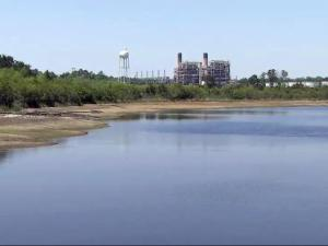 Coal ash pond at Duke Energy plant in Moncure