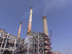 Power plant, smokestack