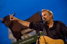 "Actor Kevin Costner and his band Modern West played at the July Fourth celebration at the Durham Bulls Athletic Park. It marked the 20th anniversary of the film ""Bull Durham."""