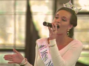 """Miss North Carolina, Amanda Watson, sang """"God Bless America"""" at the opening ceremony for the N.C. State Fair."""