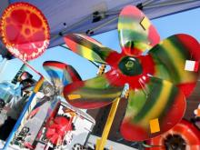 The colorful whirligig creations of Vollis Simpson are for sale and on display at the 2008 Whirligig Festival in Wilson.