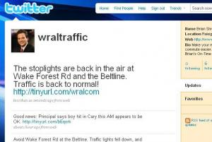 Follow Brian's traffic updates on Twitter!  Go to twitter.com/wraltraffic.