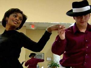 WRAL-TV anchor Valonda Calloway practices on April 16, 2009, for the Dancing Like the Stars competition.
