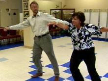 Monica Laliberte practices for dancing competition