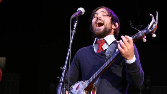 Scott Avett performing with The Avett Brothers Wednesday night in Raleigh.