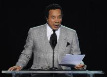 Musician Smokey Robinson speaks during the memorial service for Michael Jackson at the Staples Center in Los Angeles, Tuesday, July 7, 2009. (AP Photo/Mark J. Terrill, Pool)