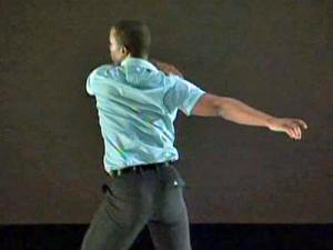 A dancer takes the stage during the American Dance Festival on July 24, 2009.