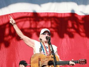 Willie Nelson played to a sun-drenched crowd at the Durham Bulls Athletic Park on Tuesday afternoon. (Photo by Jack Morton)