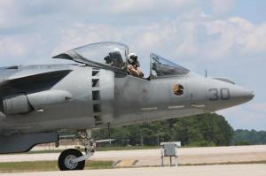 A USMC AV-8B Harrier taxi's the runway at the MCAS Cherry Point Air Show, May 21-23, 2010.