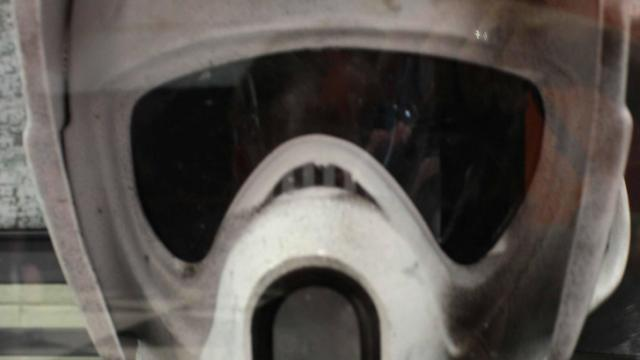 """This helmet was worn by a stormtrooper in the """"Star Wars"""" movies."""
