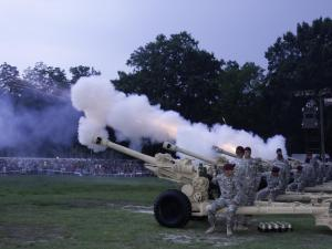 During the flag ceremony, canons were fired as each state's name was announced.