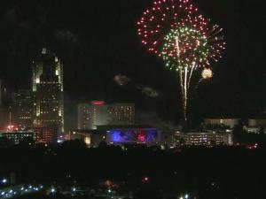 Dazzling fireworks shot into the sky at City Plaza in downtown Raleigh Thursday night, capping a full day of Fourth of July festivities.