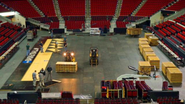NCAA Tournament floor being installed at PNC Arena