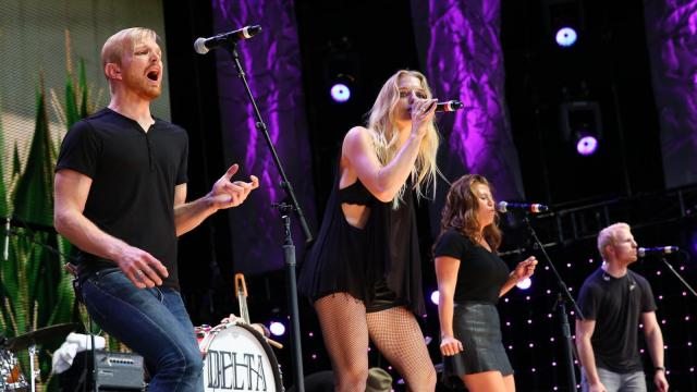 Delta Rae on stage at Walnut Creek Amphitheater in Raleigh. The annual Farm Aid benefit concert makes a stop in North Carolina on Sept. 13, 2014. (Chris Baird / WRAL Contributor).