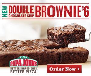 Papa John's NEW Double Chocolate Chip Brownie