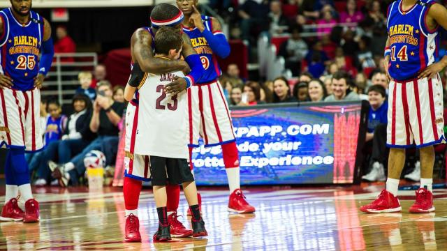 The Harlem Globetrotters take on the Washington Generals at the PNC Arena in Raleigh on March 1, 2015.