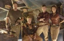 """Adam Baldwin as Jayne (left), Alan Tudyk as Walsh, Nathan Fillion as Captain Malcolm """"Mal"""" Reynolds and Gina Torres as Zoe in """"Firefly."""" (Deseret Photo)"""