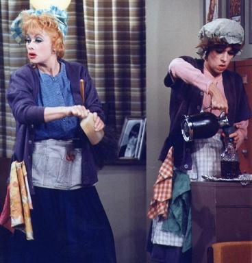 "Lucille Ball, left, and Carol Burnett, play charwomen in Burnett's 1966 TV special ""Carol + 2."" That show, plus the 1972 special ""Once Upon a Mattress,"" have been collected for the newly released DVD, ""Carol + 2: The Original Queens of Comedy."" (Deseret Photo)"