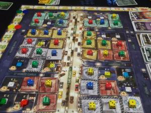 A look at the game in the middle of play. Dice represent ownership of different buildings along the Vegas strip. (Deseret Photo)