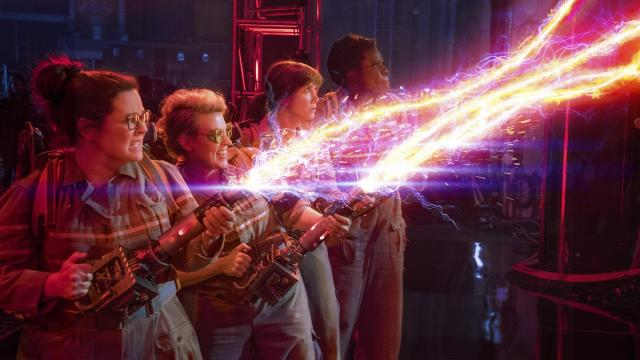 """The Ghostbusters Abby (Melissa McCarthy), Holtzmann (Kate McKinnon), Erin (Kristen Wiig) and Patty (Leslie Jones) in Columbia Pictures' """"Ghostbusters."""" (Deseret Photo)"""