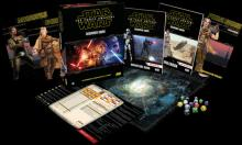 Here's a look at the content of the Star Wars The Force Awakens roleplaying game. There are dice, character folios, an adventure book, tokens, maps and a rulebook. (Deseret Photo)
